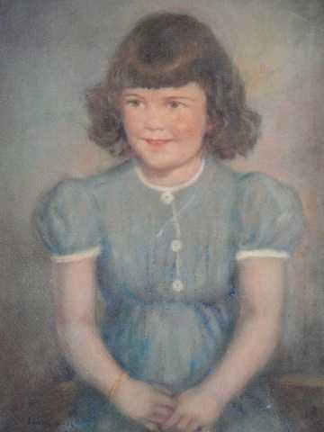 158: AMERICAN PORTRAIT OF YOUNG GIRL IN BLUE DRESS