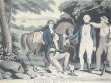 178 ANTIQUE N CURRIER LITHOGRAPH  CAPTURE OF ANDRE