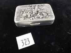 323: ANTIQUE DANISH REPOSSE SILVER PILL BOX