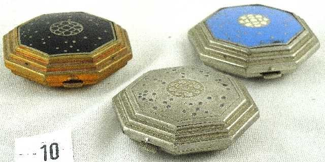 10: VTG LOT OF 3 METAL COSMETIC COMPACTS