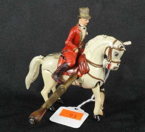 93: GERMAN TIN TOY WIND-UP HORSE & RIDER - US ZONE