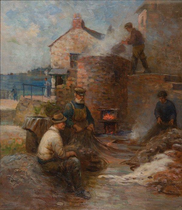 7: Arthur Netherwood (1864-1930) Mending the nets Oil o