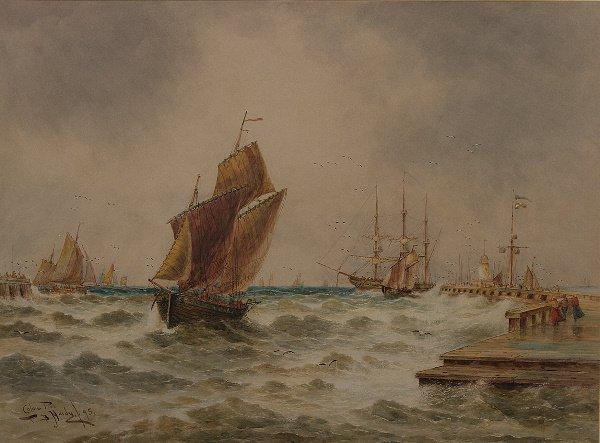 11: Thomas Bush Hardy (1842-1897) Calais Pier Watercolo