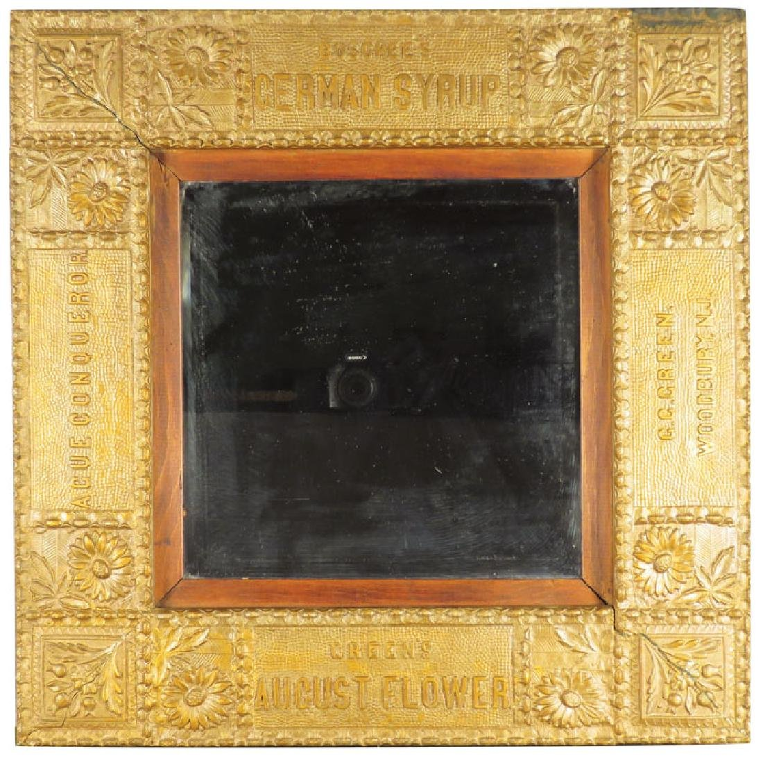 Early Gesso Advertising Frame and Mirror