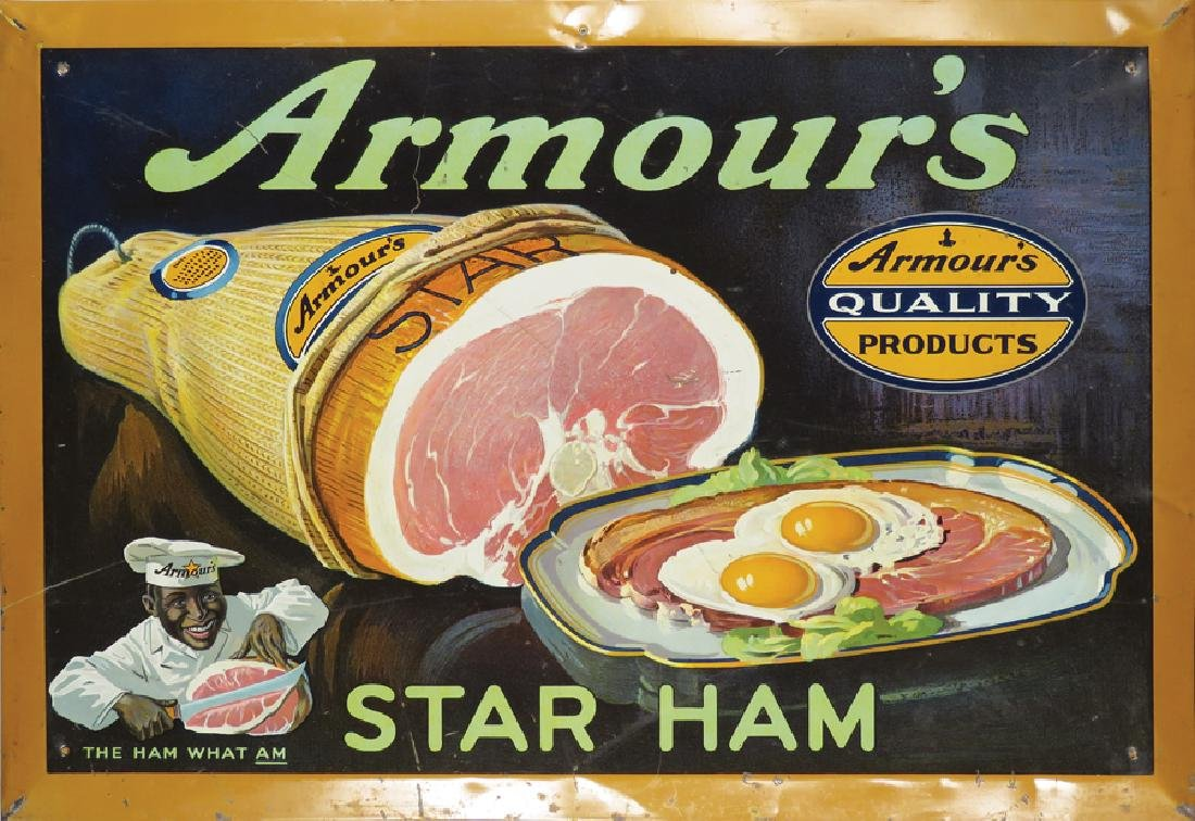 Armour's Star Ham Tin Over Cardboard Sign