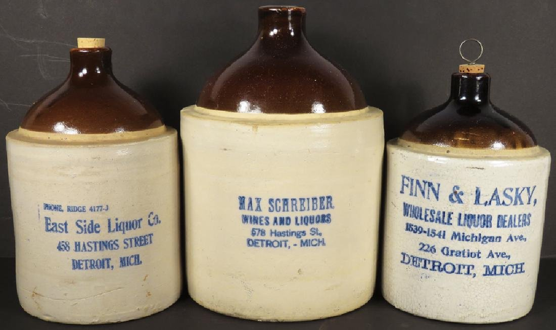 Collection of Detroit Advertising Crock Jugs