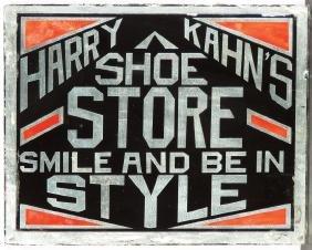 Harry Kahn's Shoe Store Reverse Glass Sign
