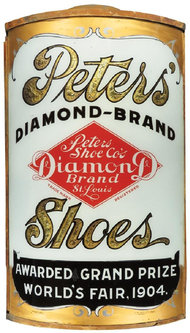 Peter's Diamond Brand Shoes Reverse Glass Sign