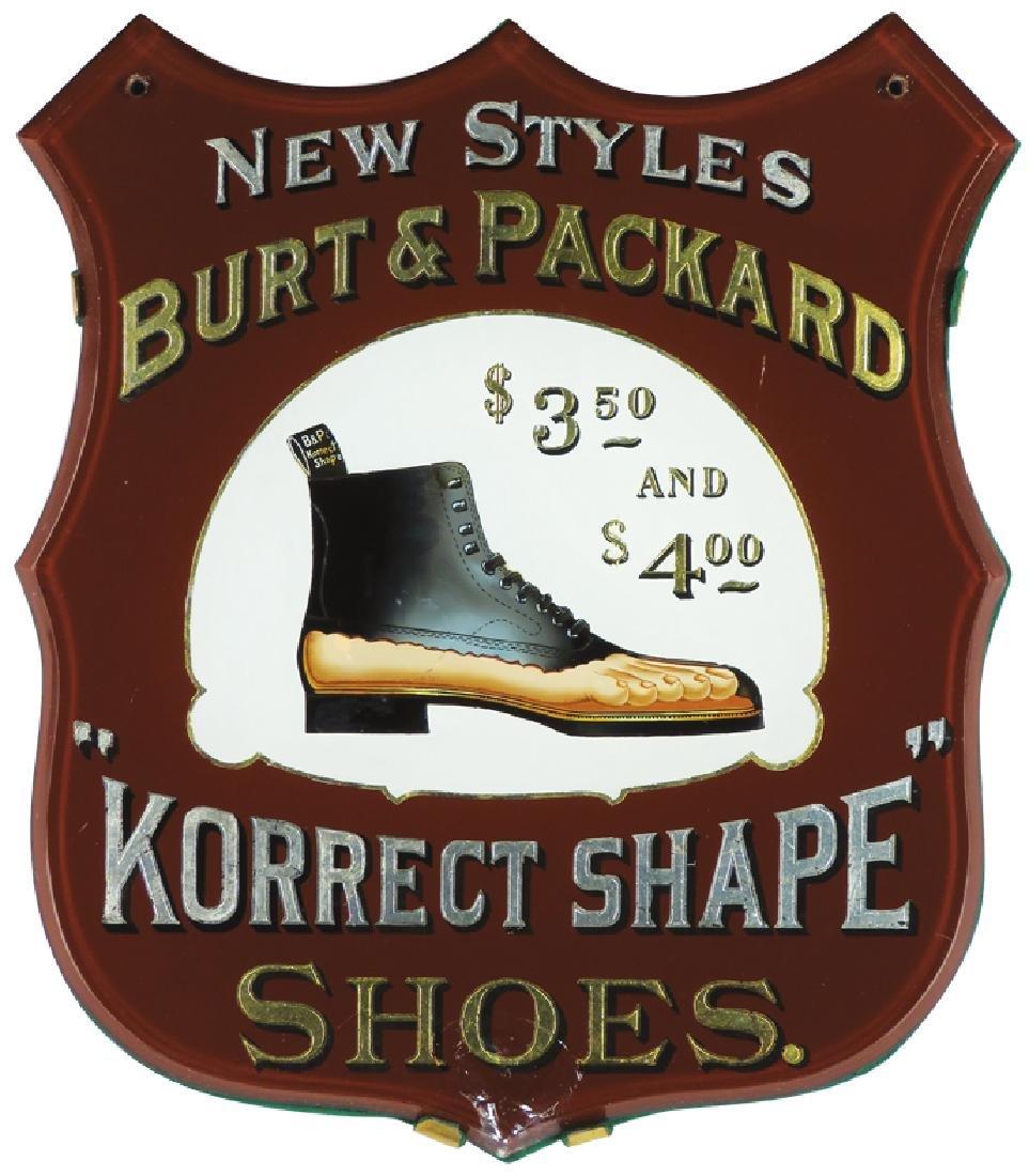 Burt & Packard Shoes Reverse Glass Sign