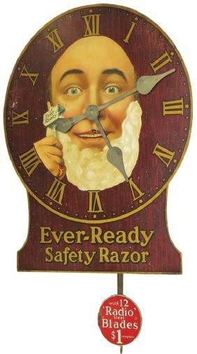Ever-ready Safety Razor Wood Clock
