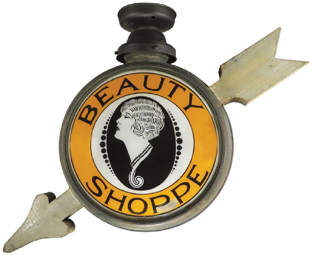 Beauty Shoppe Light Up Directional Can Sign