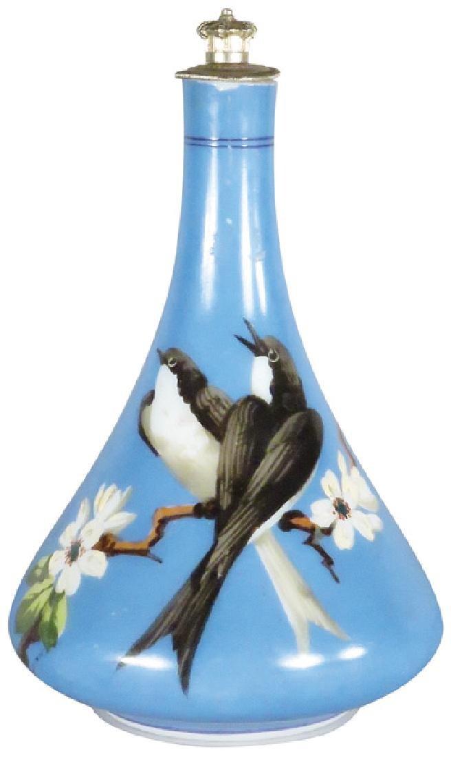 Milk Glass Bird Motif Barber Bottle
