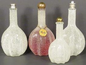 Collection of 4 Sugared Glass Perfume Bottles