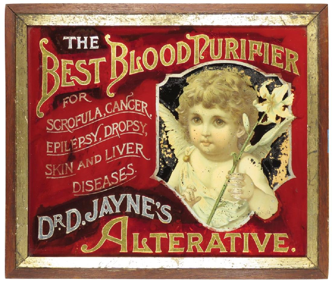 Dr. D. Janes Blood Purifier Reverse Glass Sign
