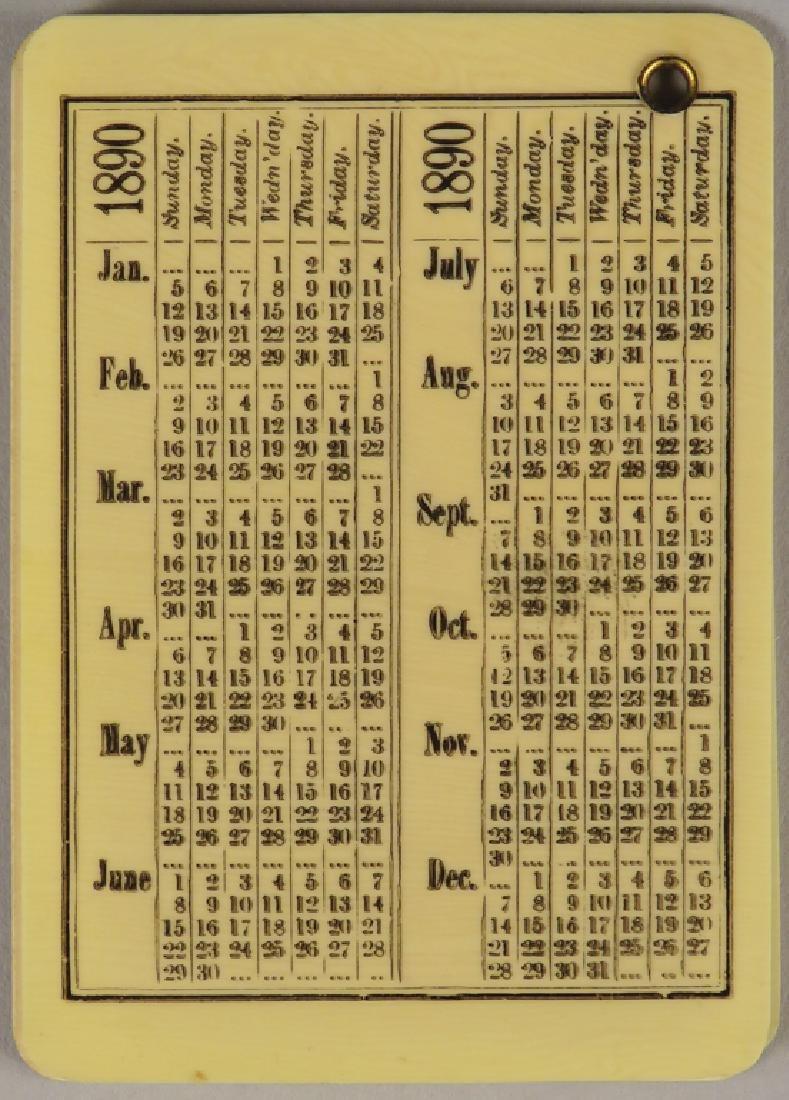 1890 Celluloid Advertising Notebook Calendar - 2