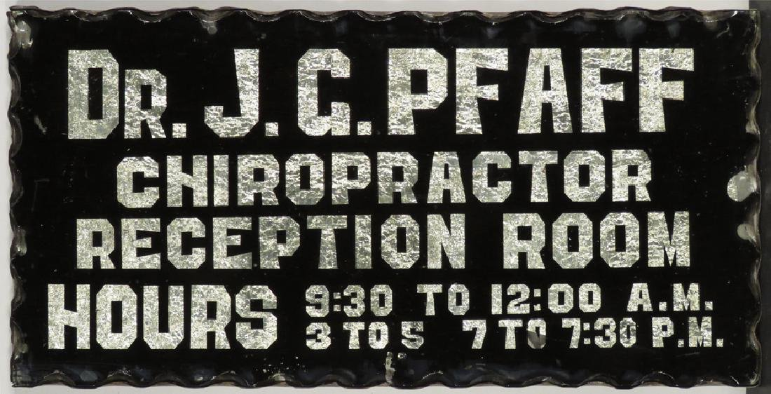 Dr. J.G. Pfaff Chiropractor Reverse Glass Sign