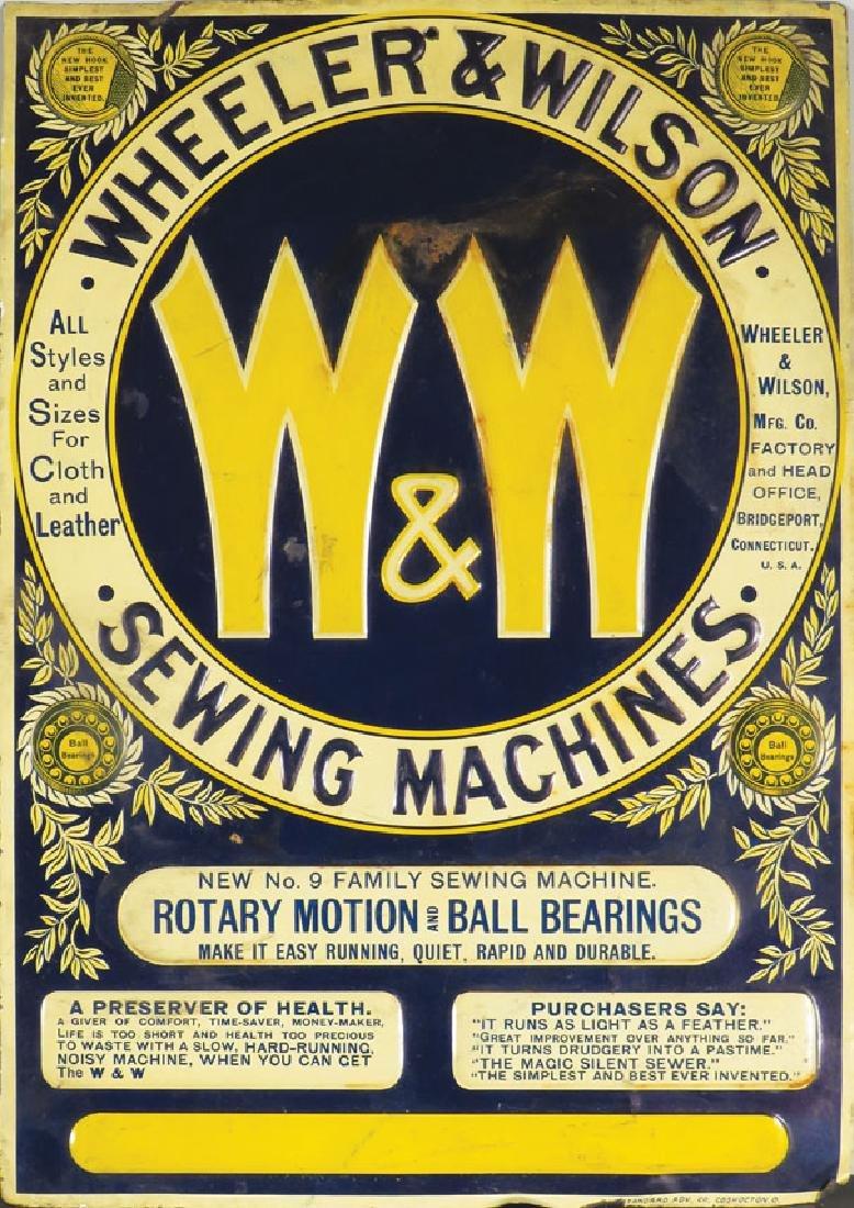 Wheeler & Wilson Sewing Machines Tin Sign