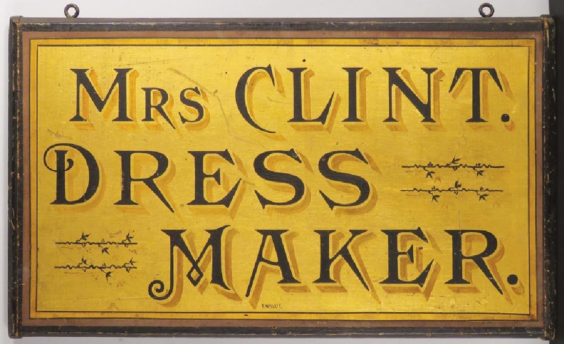 Mrs. Clint. Dress Maker Wood Sign