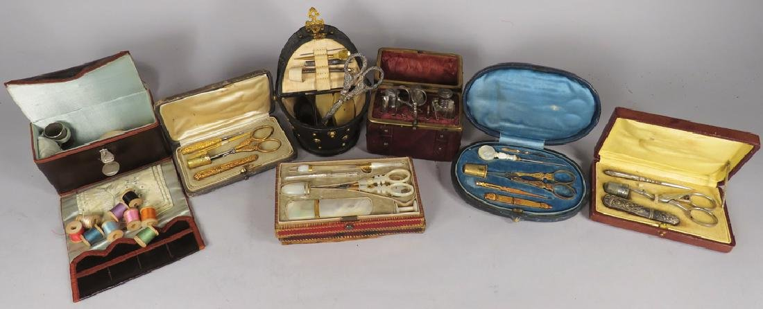 Collection of Nineteenth Century Sewing Kits