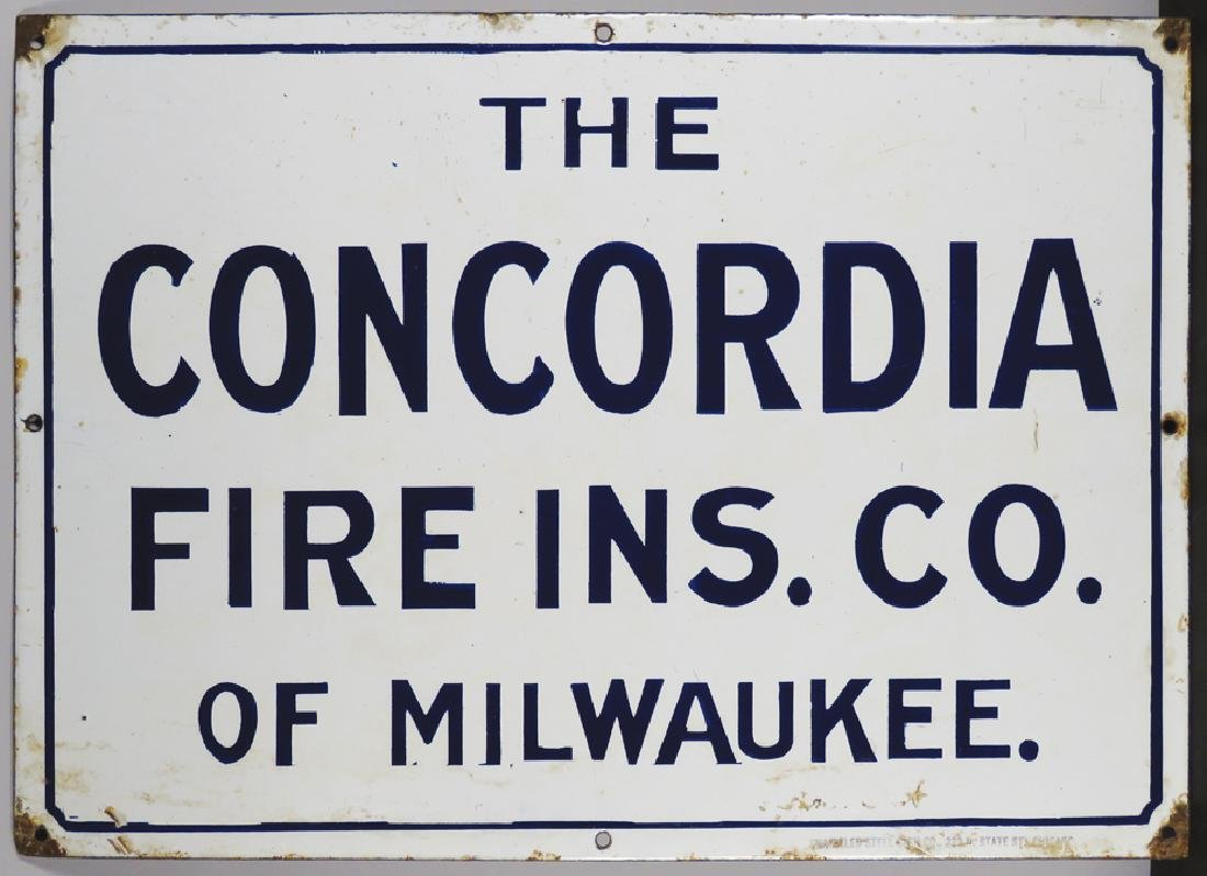 The Concordia Fire Ins. Co. Porcelain Sign