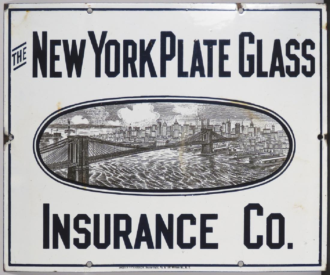 New York Plate Glass Ins. Co. Porcelain Sign