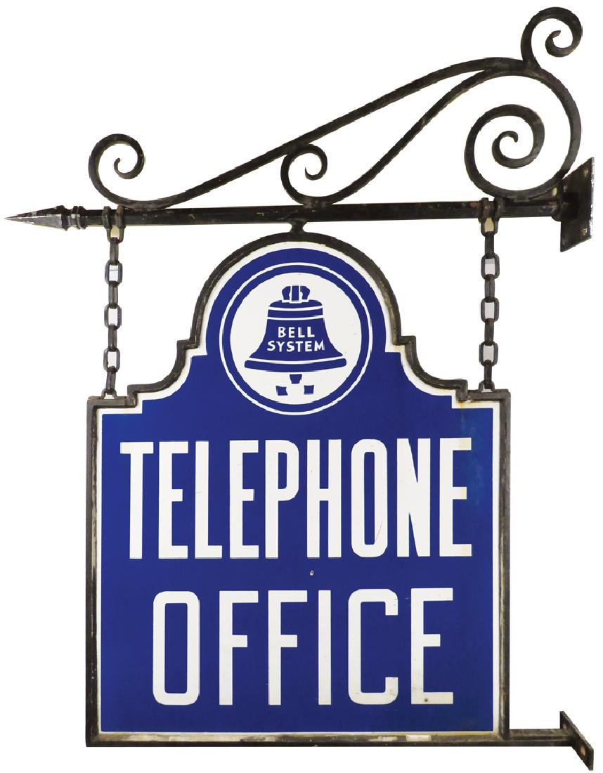 Bell Telephone Office Die Cut Porcelain Sign