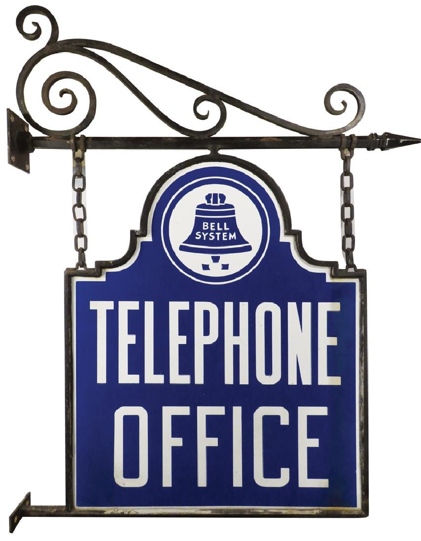 Bell Telephone Office Die Cut Porcelain Sign - 2