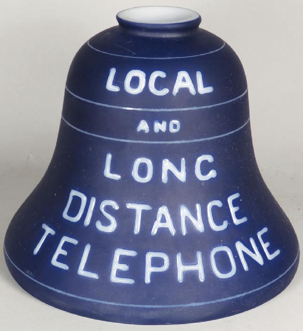 Milk Glass Bell Telephone Lamp Shade - 2