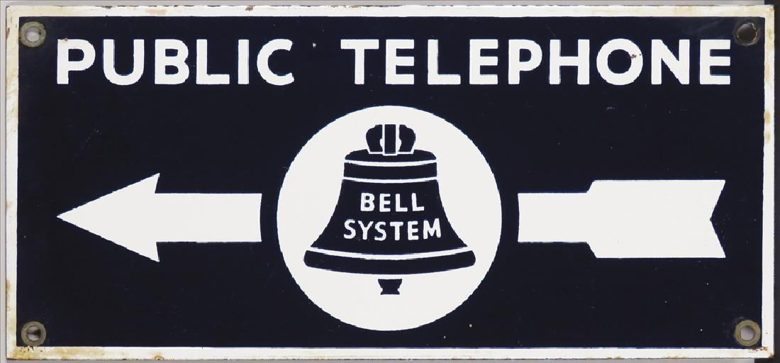 Public Telephone Bell System Porcelain Sign