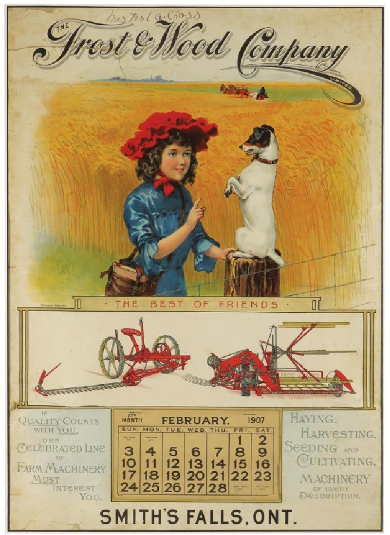 1907  Calendar for Frost & Wood Company
