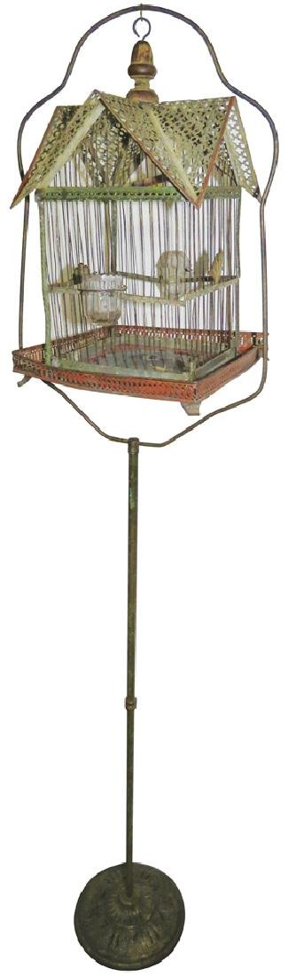 Antique Metal Bird Cage with Stand