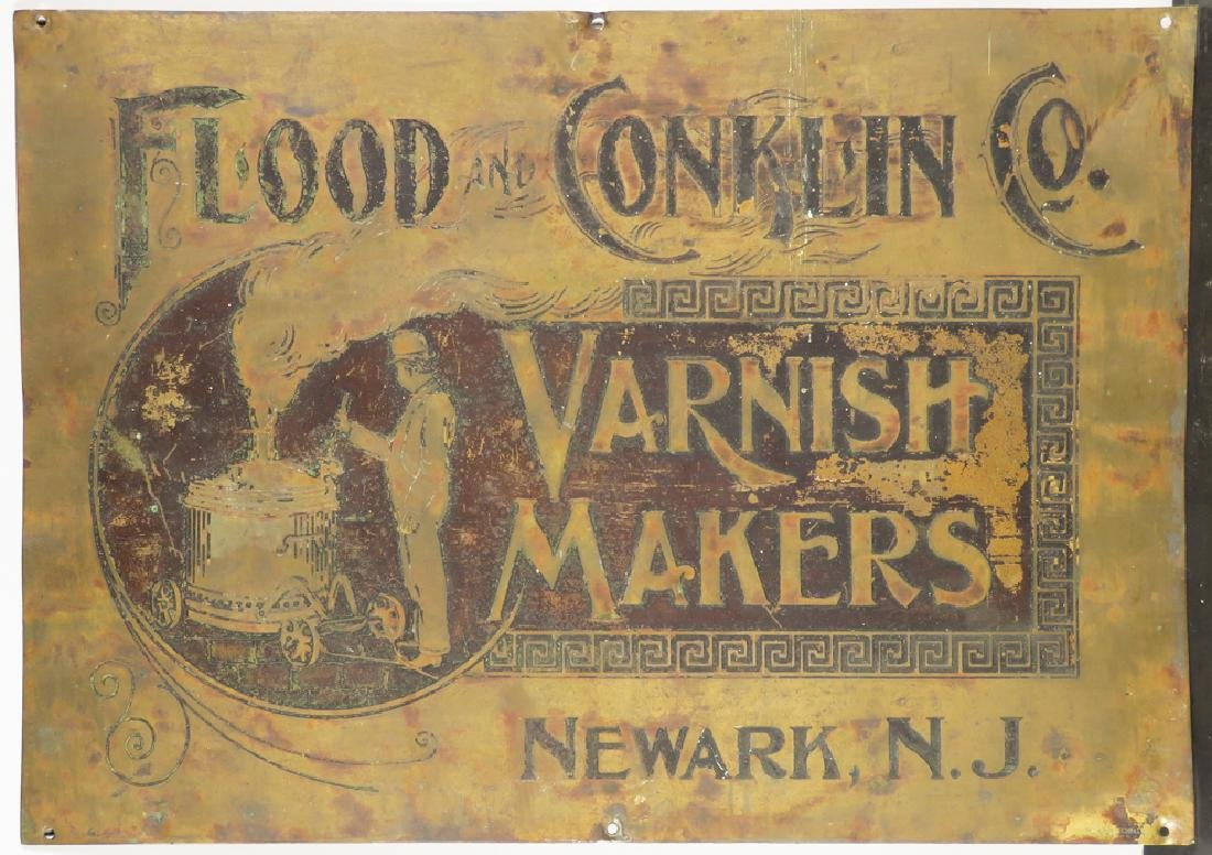 Flood and Conklin Co. Varnish Makers Brass Sign