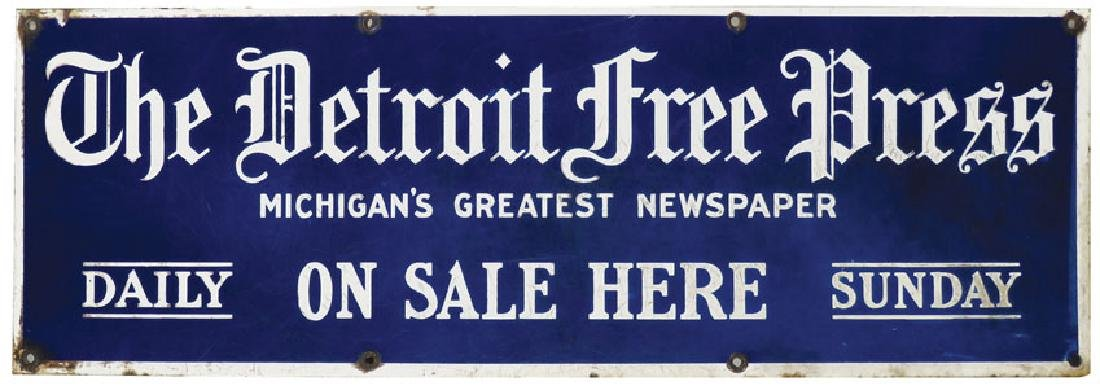 The Detroit Free Press Porcelain Sign