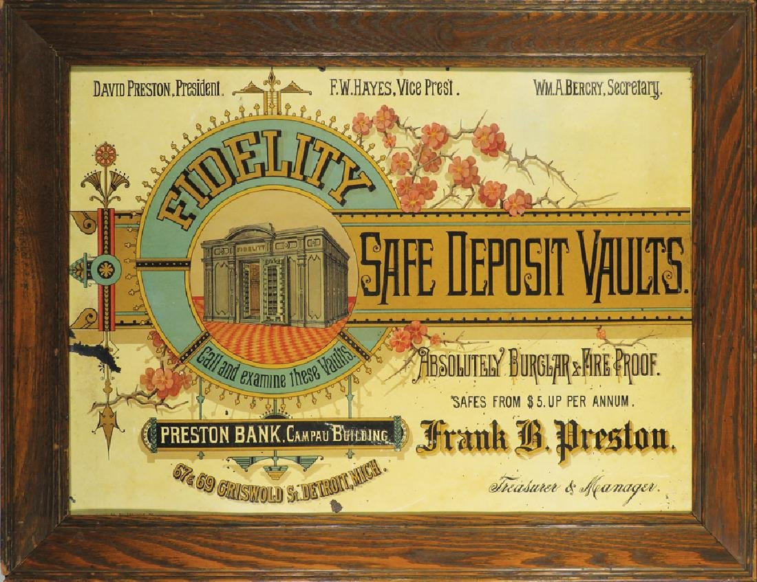 Fidelity Safe Deposit Vaults Tin Litho Sign
