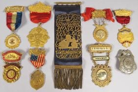 Collection of Nine Fire Ribbons and Badges