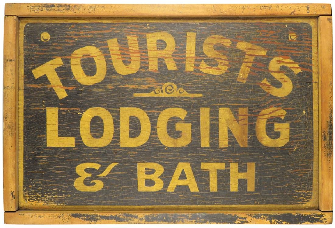 Tourist Lodging & Bath Wood Outdoor Sign