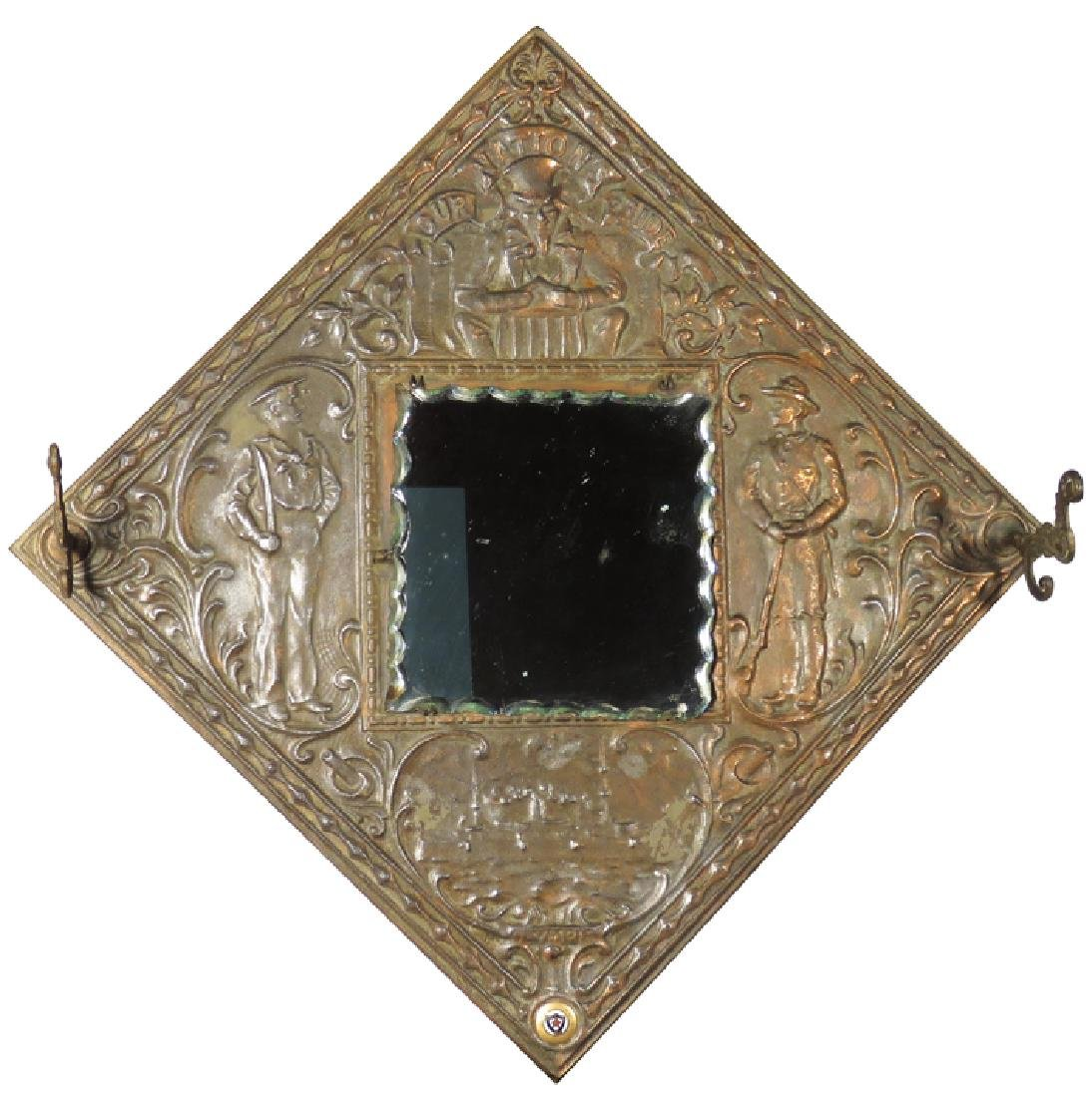 P.D.S. of A Embossed Tin Hat Rack and Mirror