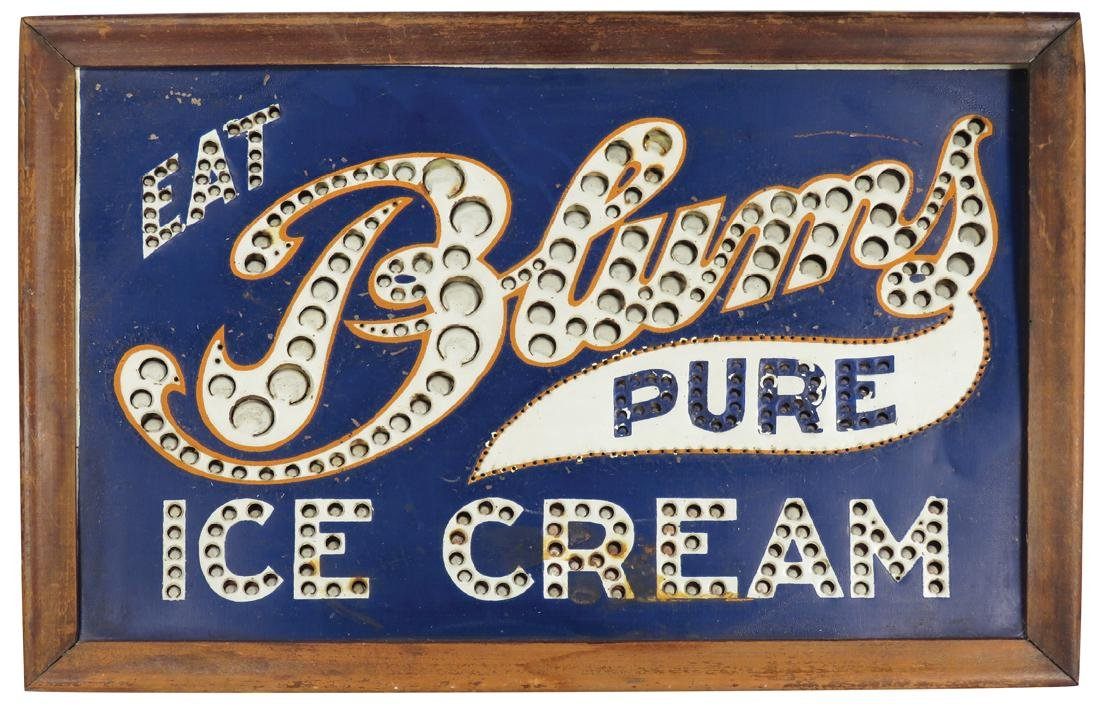 Eat Blums Pure Ice Cream Light Up Counter Sign