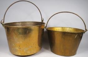 Two Early Copper Candy Kettles