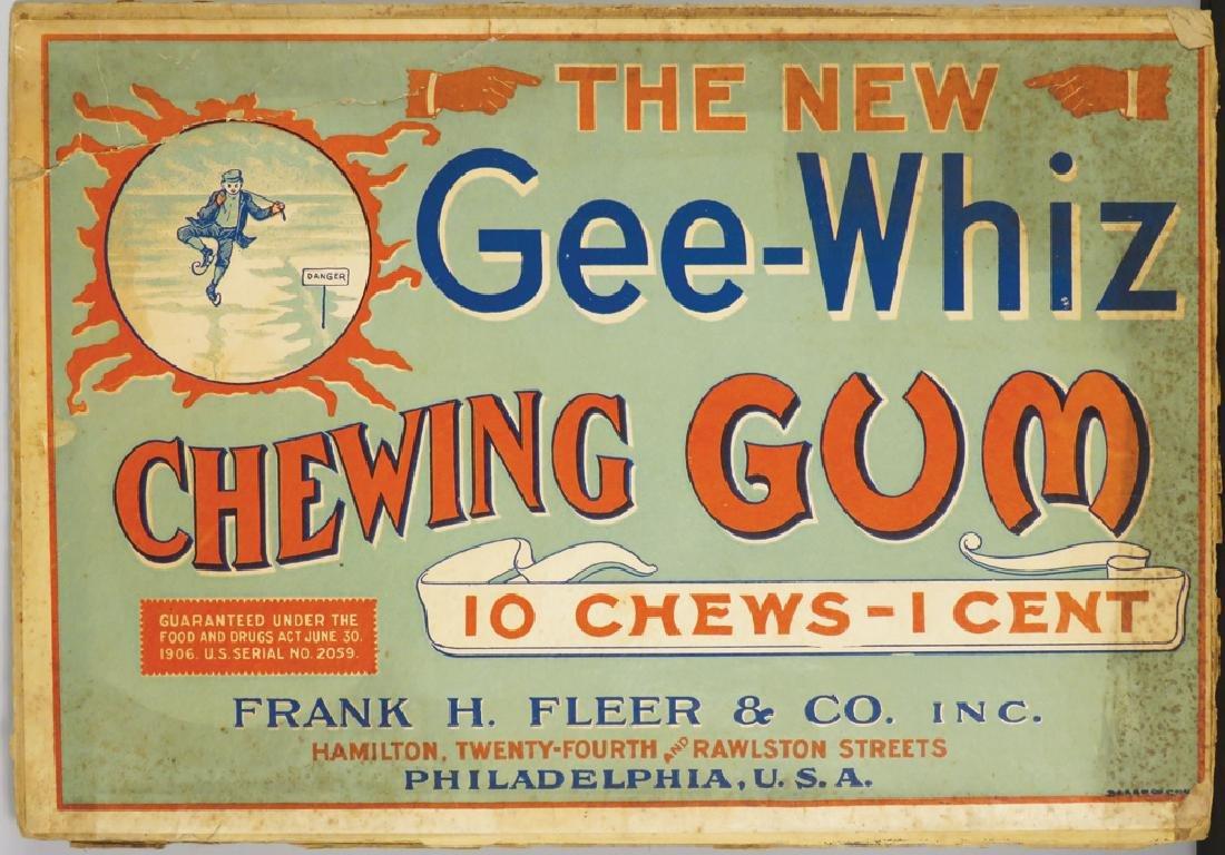 Rare Gee-Whiz Chewing Gum Cardboard Sign