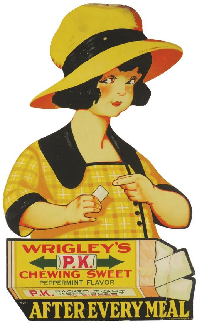 Wrigley's P.K. Peppermint Gum Cardboard Sign