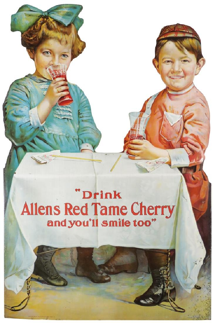 Allens Red Tame Cherry Die Cut Tin Sign