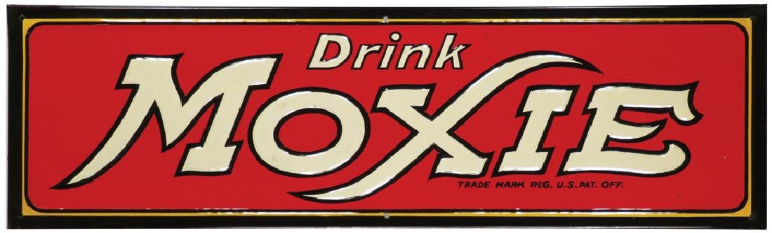 Drink Moxie Embossed Tin Sign