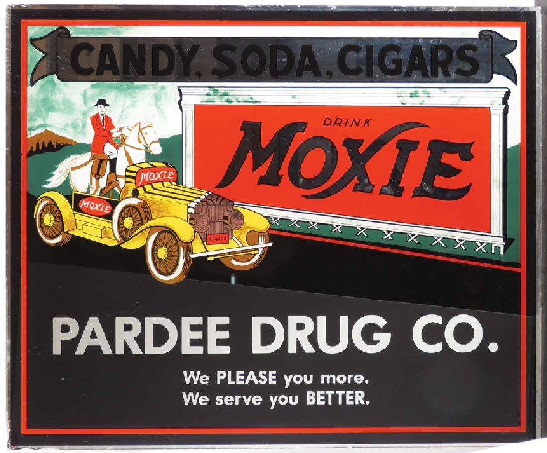 Moxie Reverse Glass Sign
