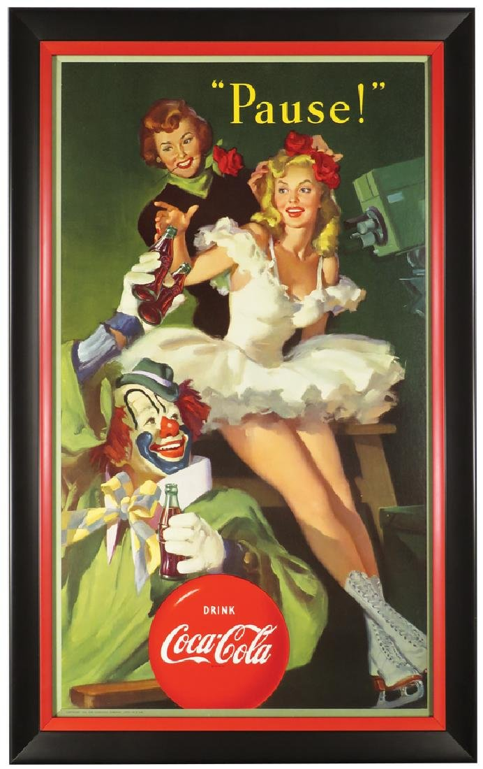 1950 Coca Cola Clown and Skater Poster