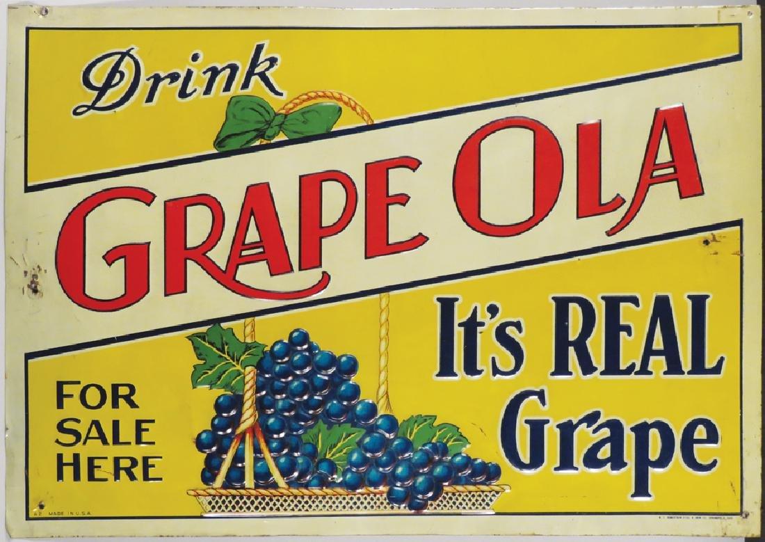 Grape Ola Embossed Tin Sign