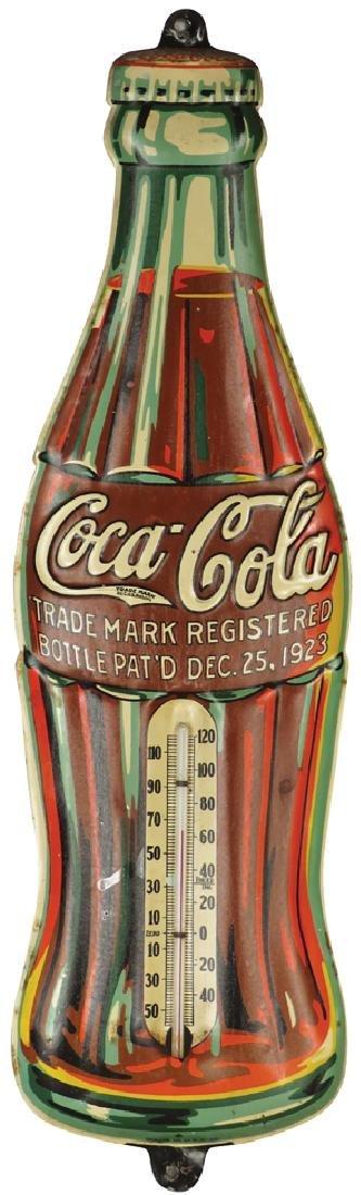 1936 Coca Cola Embossed Tin Thermometer