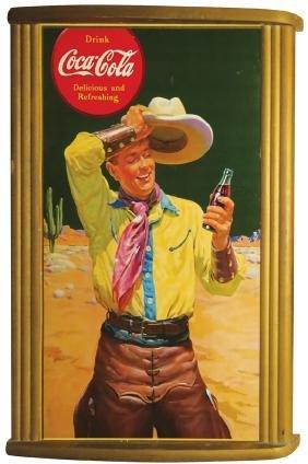 Coca Cola Cardboard Sign in Original Frame