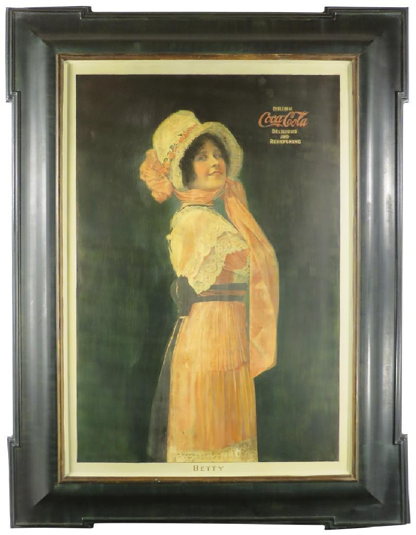 "1914 Coca Cola ""Betty"" Self Framed Tin Sign"