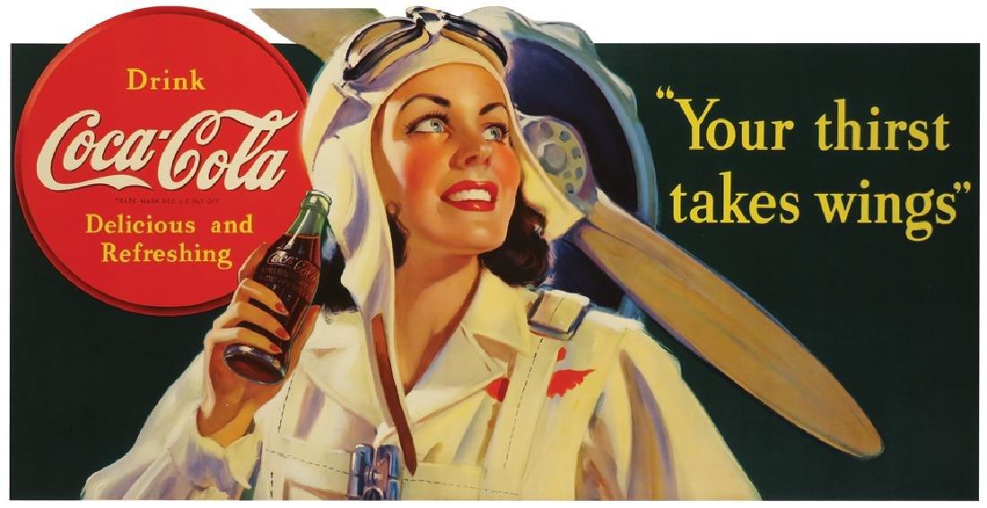 1940 Coca Cola Lady Pilot Cardboard Sign